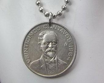 Mexican Coin Necklace, 25 Centavos, Ball Chain, Men's Necklace, Women's Necklace, Francisco Madero, 1964