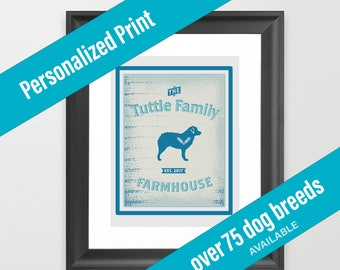 Dog Print Farmhouse Decor | Country Theme | Australian Shepherd | Over 75 Breeds Available | Housewarming Gift