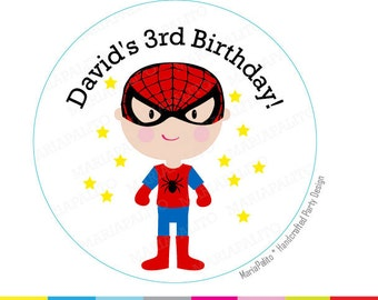 Spiderman stickers, SuperHero Party, Personalized  PRINTED round Stickers, tags, Labels or Envelope Seals, A1282
