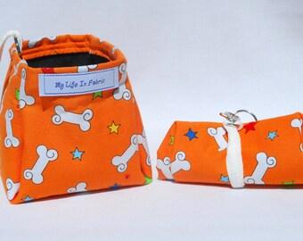Pet Bowl Portable Dog Water Dish Packable Collapsible Packable Pet Water Bowl Orange Bones Stars
