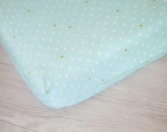 Changing Pad Cover | Mint and White Triangles