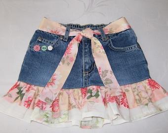 Girl's Size 2T Denim Skirt, Girl's Jean Skirt, Upcycled Jeans Skirt, Denim Skirt with Pink Ruffles & Tie Belt