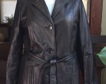 Women's Wilsons Leather Jacket - Black Leather Coat - Mid-Length - Car Coat - Trench - Button Front - Thinsulate Lining - Size Medium
