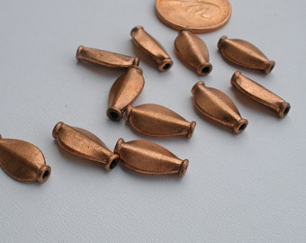 Solid Copper Fluted Tube Beads  9mm Bali Style Accents 10pc or 30pc
