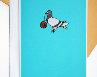 Christmas Pigeon and Bauble Illustration A6 Card