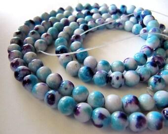 6mm Mountain JADE Beads in Purple, Light Blue and Cream, Dyed, Round, Full Strand, 70 Pcs, Gemstones