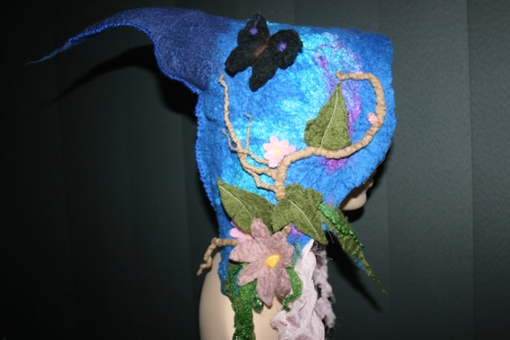 Hood Wearable Blue toned Art Felted Fairy Butterfly Soft Hat Magical Style 'Dancing Butterfly Merino Pixie ' wool OOAK Pointy hood qtpRwZ