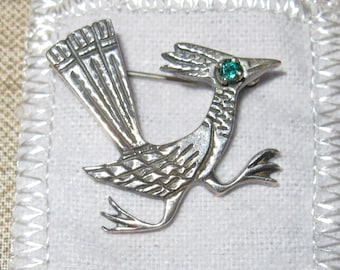 Road Runner, James Avery,Sterling Silver with Emerald