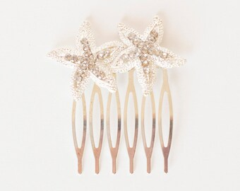 Rhinestone Starfish Hair Comb Crystal Headpiece Silver Head Piece Hairpiece Bride Bridal Bridesmaid Destination Beach Wedding Accessories