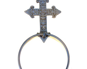 "Cast Iron Cross Bath Towel Ring 6"" for large towels Rustic Brown with Hardware"