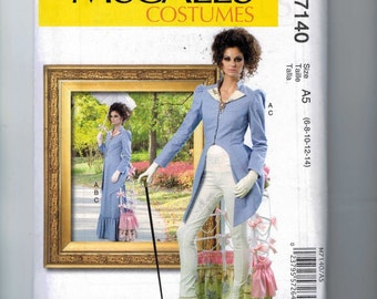 Misses Sewing Pattern McCalls M7140 7140 Cutaway Bustle Suit Skirt Pants 1880s Cosplay Steampunk Costume Size 6 8 10 12 14 16 18 20 22 UNCUT