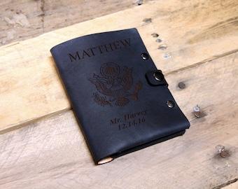 Genuine Leather Passport Wallet Sleeve, Personalized Passport Holder, Custom Passport Cover, Engraved Passport Case --PASS-BLK-Matthew