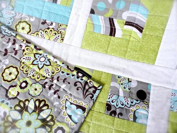 """Sale Baby Boy Quilt - Modern Baby Quilt - Gray Baby Blanket - Green Baby Quilt - Girl Crib Quilt - Baby Boy Blanket - Baby Bedding 40"""" x 50"""""""