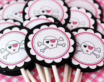 Punky Skull Cupcake Toppers - set of 12