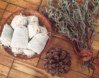 Dream Sachets with Foraged Mugwort and Organic Lavender - for relaxation, hormonal balance, sweet dreams - in hand-stamped muslin, 2 pack