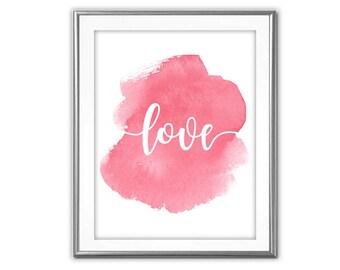 SALE-Love Dark Pink Watercolor-Digital Print-Wall Art-Digital Designs-Home Decor-Gallery Wall- Quote Prints-Typography-Watercolor Print
