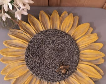 Ceramic Decorative Sunflower with Brass Bumble Bee Embellishment