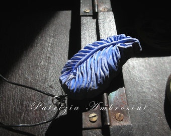clay pendant - Blue FEATHER  No.3 - handmade
