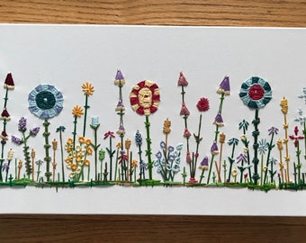 Ready to ship: Large,hand embroidered wildflower garden
