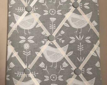 Fabric Memo Board - Grey Bird Fabric