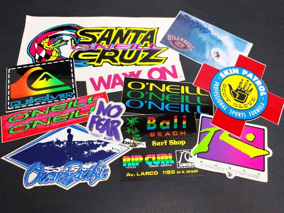 Vintage neon tropical beach surf bumper stickers hawaii
