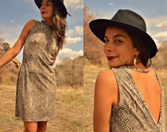 Vintage 90s PYTHON Snake Skin Mini Tank Grunge Dress with Triangle Open Back