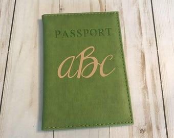 Monogrammed Green Passport Holder, Green Passport cover