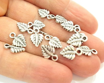 20 Silver Charms Antique Silver Plated Leaf Charms  (13x8mm) G6964