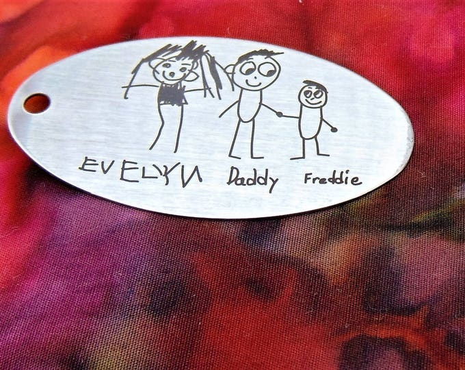 Child's Art Work Or Handwritten Note - Actual Handwriting - Stainless steel Laser Engraved