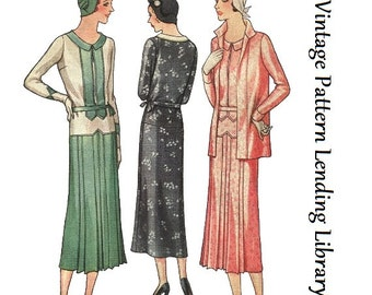 1931 Ladies Dress Ensemble - Reproduction Sewing Pattern #T6453