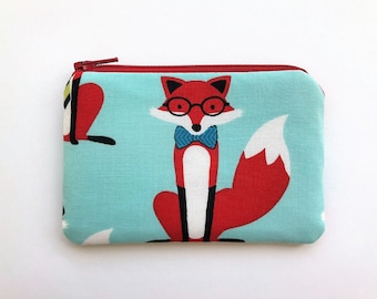 Red fox coin purse - fox fabric pouch - mini zipper pouch - coin pouch - small wallet pouch - gift ideas for girls - small gift ideas