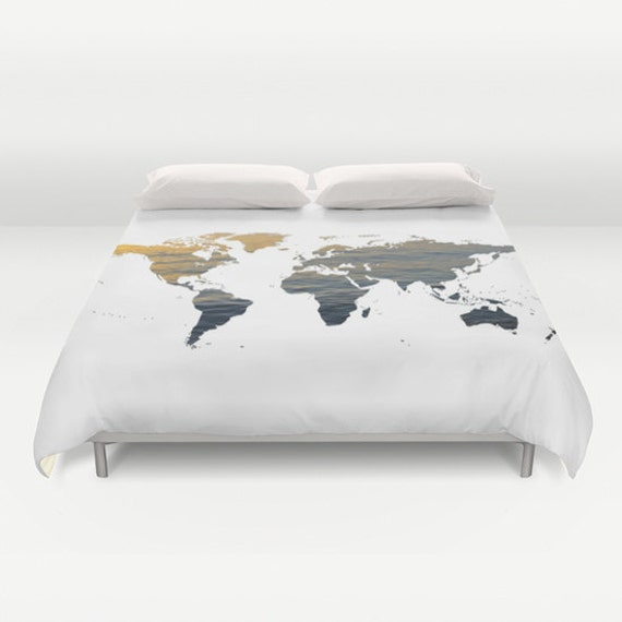 Sea texture world map duvet cover decorative bedding world te gusta este artculo gumiabroncs Gallery