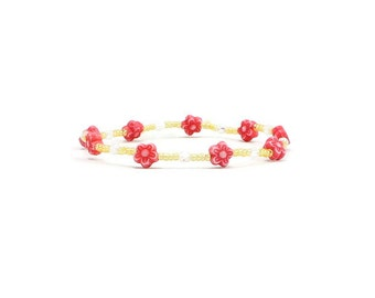 Red Flower Anklet - Seed Bead Jewelry - Girls Anklet - Bead Ankle Bracelet - Stretch Jewelry - Yellow Anklet - Children's Jewelry