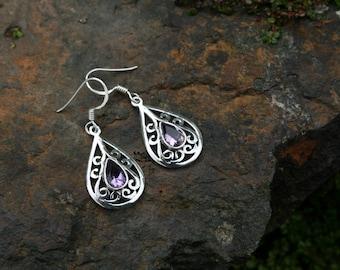 Celtic Style Earrings With Various Stones… Amethyst, Lemon Quartz, Peridot