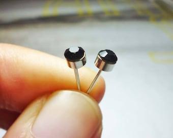 Black Diamond Round Stud Earrings, Dainty Earrings