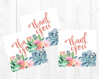 Bridal Shower Thank You Tag INSTANT Printable 2.5in square | Hand Lettered Detail | Watercolor Flowers | Bridal Shower | Advice Cards