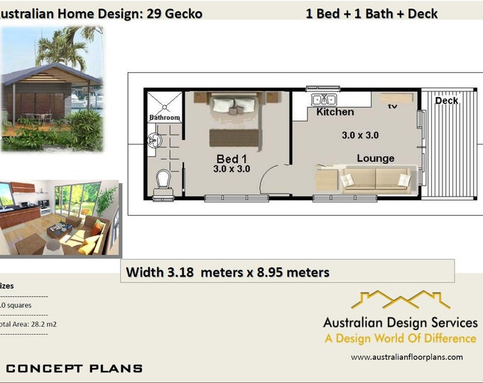 29 Gecko - 29 m2 |  1 Bedroom Transportable home - Concept House Plans For Sale
