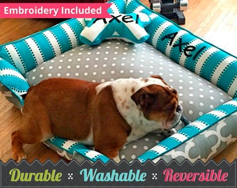 Dog Bed | Cozy Dog Bed | Personalized Embroidered Dog Bed | Free Embroidery | Pet Bed | Cat Bed | Durable Dog Bed | Custom Pet Bed |