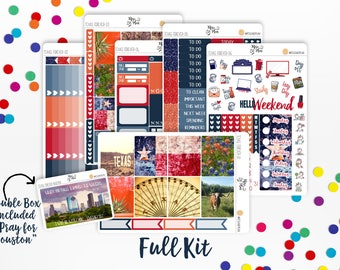 Texas Forever Photo Kit- Vertical Weekly Kit planner stickers- Pray for Houston, Hurricane Harvey, Proceeds Donated