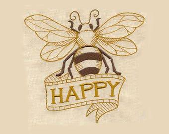 Bee Happy Tea Towel   Embroidered Kitchen Towel   Kitchen Towel   Personalized Kitchen   Personalized Kitchen Gifts   Hand Towel  Bee Lover