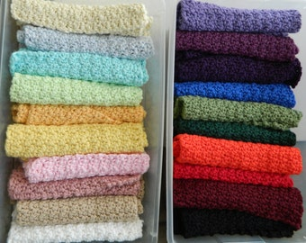 Facial Washcloths: Pack of 10 uniquely textured crochet cleaning cloths made out of a soft cotton in 20 colors Bulk gift set Free shipping