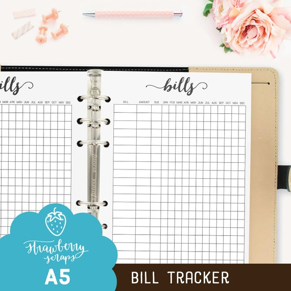 Bill Planner Inserts Bill Tracker Bill Pay Bill