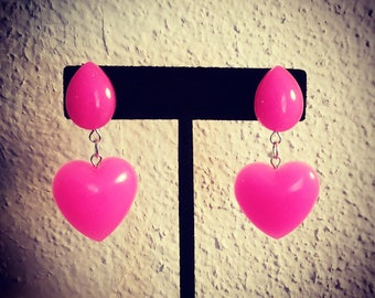 Hot pink heart drop earrings
