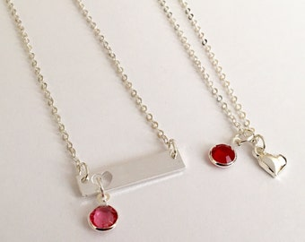 50 % off Mother and Daughter necklaces Heart necklaces with birthstones Free Gift Box and birthstones are included