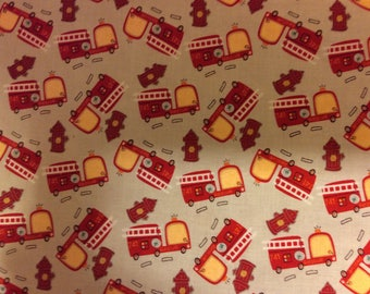 Boys Fabric / Fire Engines / On Our Way  / Sewing Fabric / Quilting Fabric / by Riley Blake / C1424