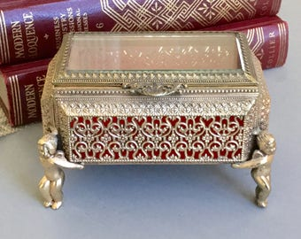 Gold Jewelry Box / Ornate Ormolu Jewelry Casket / Jewelry Box/  Trinket Box