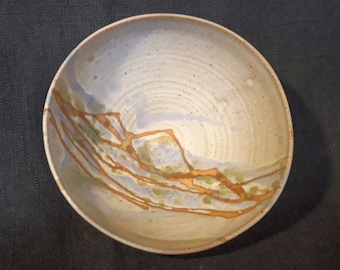 Hand thrown CEREAL PASTA bowl Ceramic Pottery 'Summer Landscape' mountain dish