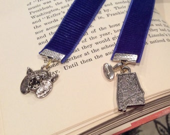 New Royal Blue Velvet Grosgrain Bookmark with Silvertone Wildcat Charm on one end and Alabama State and Football charms on end