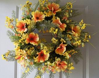Summer Wreath,Rustic Wreath, Yellow WildFlowers Wreath, Country Cottage Wreath, Daisy Flowers Wreath