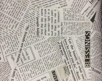 Newsprint fabric-Windham Fabrics - Carrie Boomston-One Yard Cut, word Fabric, writing fabric,script, black, white, text, newsprint, story